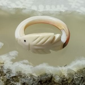 Jewelry - Carved Shell Ring with Fish